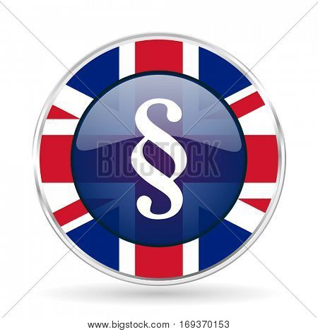 paragraph british design icon - round silver metallic border button with Great Britain flag