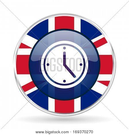 time british design icon - round silver metallic border button with Great Britain flag