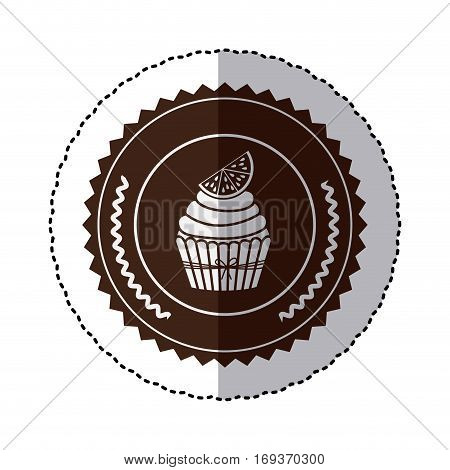 monochrome sticker with cupcake with lemon slice in round frame vector illustration
