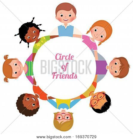 Happy Cheerful children girls and boys in the circle of friends Stock vector cartoon illustration