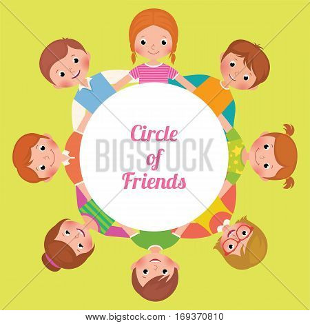Stock vector illustration cartoon happy funny kids girls and boys in the circle of friends