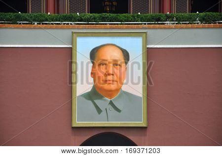 BEIJING, CHINA - JUN.23, 2012: A large portrait of Mao Zedong (Mao Tse-Tung) at Tiananmen, the center of Beijing, China.