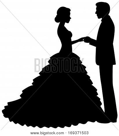 Silhouette of bride and groom on a white background vector illustration