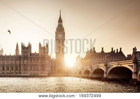 Big Ben and Westminster at sunset, London, UK
