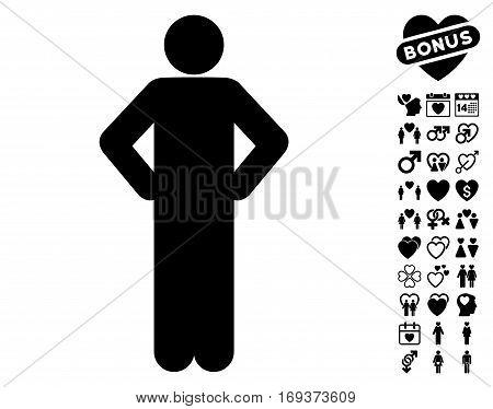 Akimbo Pose icon with bonus dating graphic icons. Vector illustration style is flat iconic black symbols on white background.