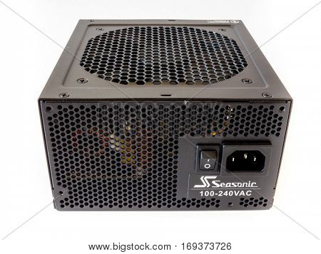 GOMEL, BELARUS - September 15, 2016: Power Supply Seasonic M12-2.Sea Sonic Electronics Co., Ltd. is a power supply and computer PSU manufacturer and retailer.
