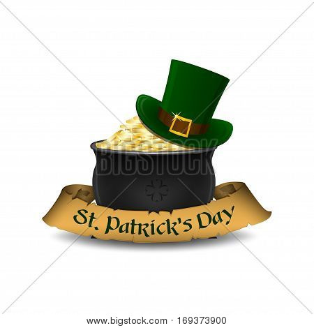 St. Patrick's Day symbols - leprechaun hat and pot of gold. Isolated on white background. Vector illustration