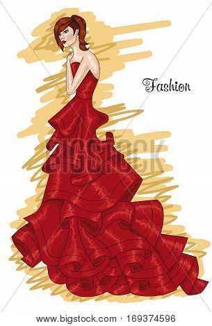 Woman in a long red dress. Aurora red-colored dress. Hairstyle and Fashion.