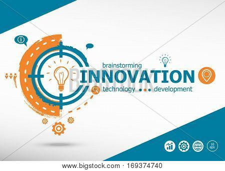 Innovation business concept on target icon background. Flat illustration. Infographic business for graphic or web design layout