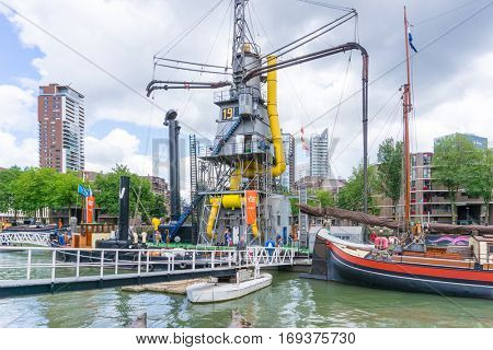 ROTTERDAM, Netherlands - August 10, 2016 : Street view of Port of Rotterdam, the nickname