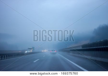 bad weather on the road foggy and cold