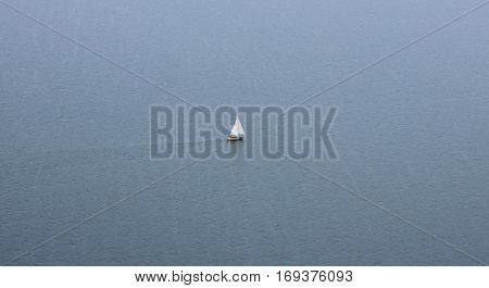 Sailingboat on a lake in The Netherlands