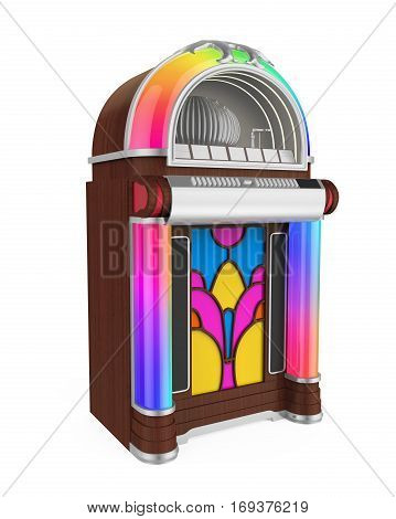 Vintage Jukebox Radio isolated on white background. 3D render