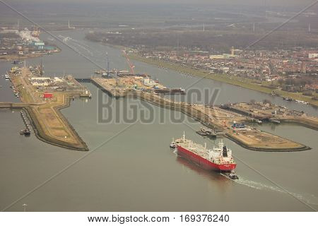 The Locks of IJmuiden. A tanker is getting ready to sail in