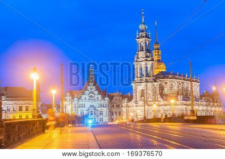 Augustus Bridge and Downtown of Dresden illuminated at night, Germany