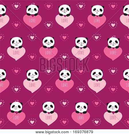 Seamless pattern with cute pandas and hearts. Wrapping paper for Valentine's Day, Mother's Day, birthday, wedding. Doodles, sketch. Vector.