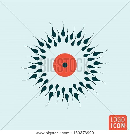 Sperm and egg cell icon. Sexual reproduction symbol. Vector illustration
