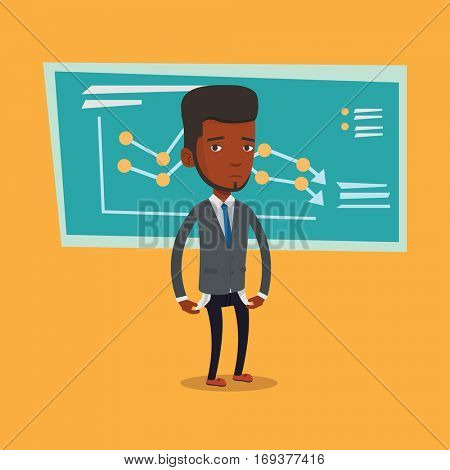 Bankrupt businessman showing his empty pockets on the background of decreasing chart. Bankrupt turning empty pockets inside out. Bankruptcy concept. Vector flat design illustration. Square layout.
