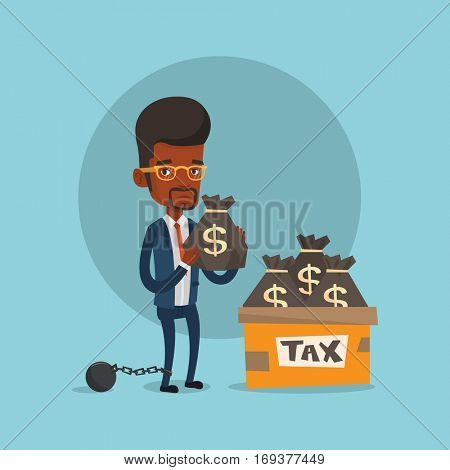 Chained to a ball taxpayer standing near bags with taxes. Upset african-american taxpayer holding bag with dollar sign. Concept of tax time and taxpayer. Vector flat design illustration. Square layout