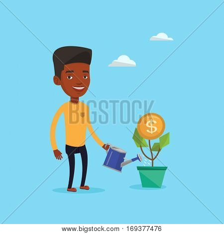 African-american businessman watering money flower. Man investing in business project. Illustration of investment money in business. Investment concept. Vector flat design illustration. Square layout.