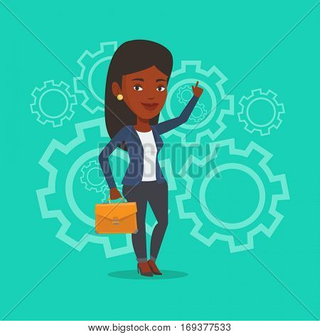 An african-american businesswoman pointing finger up because she came up with business idea. Businesswoman having business idea. Business idea concept. Vector flat design illustration. Square layout.