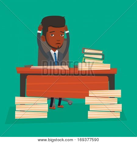 An african-american bsinessman in despair sitting at workplace with heaps of papers. Stressful businessman sitting at the desk with stacks of papers. Vector flat design illustration. Square layout.