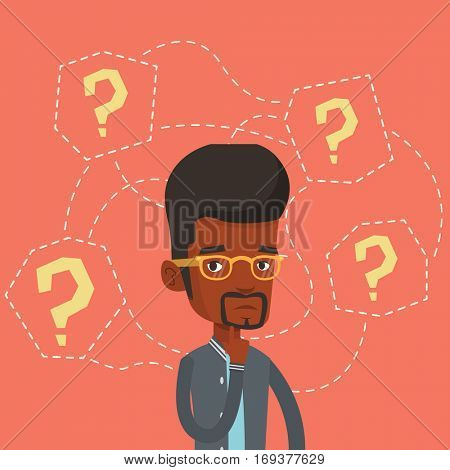 Thinking businessman standing under question marks. Young african-american businessman thinking. Thinking man surrounded by question marks. Vector flat design illustration. Square layout.
