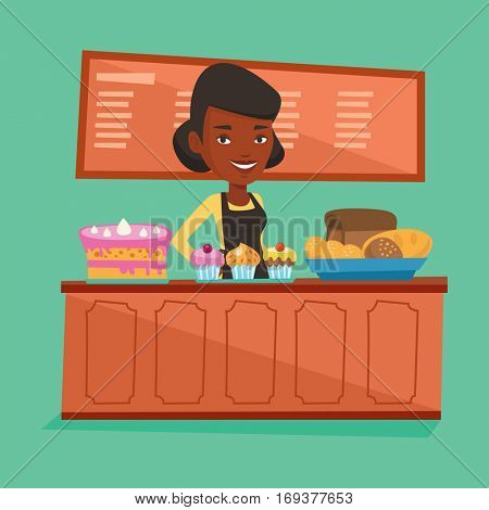 An african-american bakery worker offering pastry. Young smiling bakery worker standing behind the counter with cakes. Woman working at the bakery. Vector flat design illustration. Square layout.