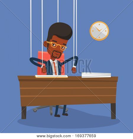 African-american businessman hanging on strings like a marionette. Businessman marionette on ropes sitting in office. Emotionless marionette man working. Vector flat design illustration. Square layout