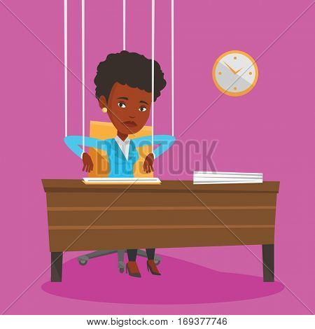 African business woman hanging on strings like a marionette. Business woman marionette on ropes sitting in office. Emotionless marionette woman working. Vector flat design illustration. Square layout.