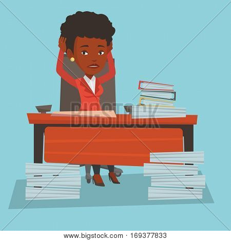 African-american bsiness woman in despair sitting at workplace with heaps of papers. Stressful business woman sitting at the desk with stacks of papers. Vector flat design illustration. Square layout.