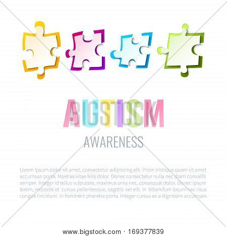 Autism awareness design template with puzzle pieces on white background. Solidarity and support symbol. Medical concept. Vector illustration.