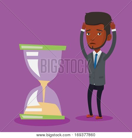 An african-american businessman looking at hourglass symbolizing deadline. Man worrying about deadline terms. Time management and deadline concept. Vector flat design illustration. Square layout.