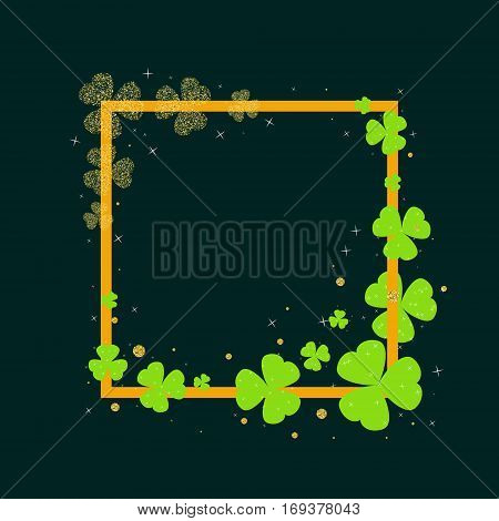 St. Patrick's Day card template with a frame and green clover. Shamrock leaves on dark background for party invitations celebration posters banners and flyers. Vector illustration.