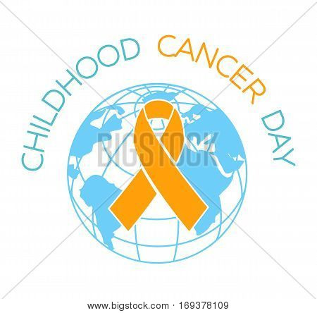 card. Holiday - Childhood Cancer Day. Icon in the linear style