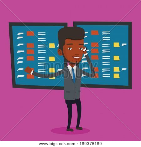 An excited businessman talking on mobile phone on the background of display of stock market quotes. An african-american stockbroker at stock exchange. Vector flat design illustration. Square layout.