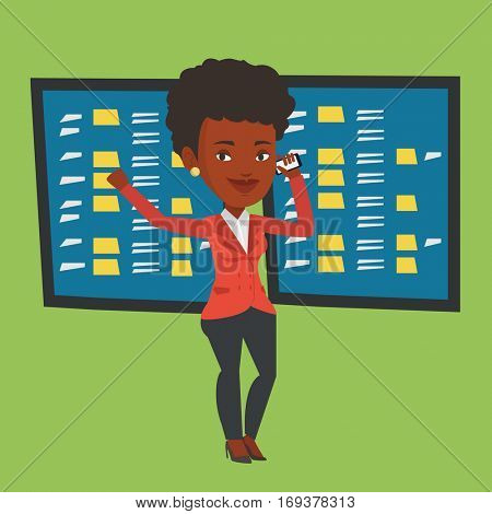 An excited business woman talking on mobile phone on the background of display of stock market quotes. An african-american stockbroker at stock exchange. Vector flat design illustration. Square layout