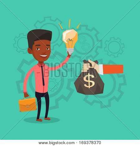 An african-american successful african-american businessman exchanging his business idea light bulb to money bag. Concept of successful business idea. Vector flat design illustration. Square layout.