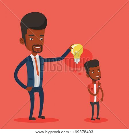 Cheerful businessman giving idea to his partner. Young african-american man holding light bulb over head of his collegue. Business idea concept. Vector flat design illustration. Square layout.