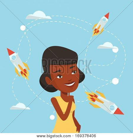 An african-american woman looking at flying business rockets. Young woman came up with an idea for a business start up. Business start up concept. Vector flat design illustration. Square layout.