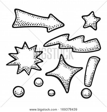 Arrows, stars, bubbles, point, lightning, exclamation mark. Isolated on white background. Vintage black vector engraving illustration for poster, info graphic, web.