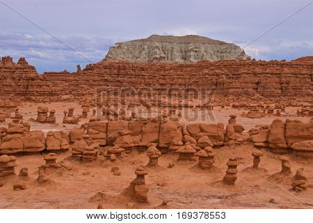 Sandstone formation with hoodoo rocks in Goblin Valley State Park, Utah