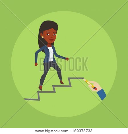 An african-american woman running up the career ladder drawn by hand with pencil. Business woman climbing the career ladder. Concept of business career. Vector flat design illustration. Square layout