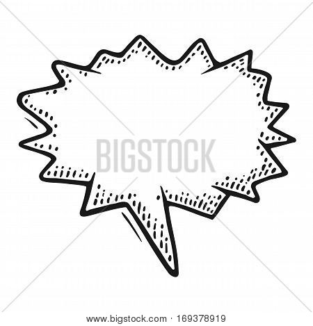 Speech bubble. Isolated on white background. Vintage black vector engraving illustration for poster, info graphic, web.