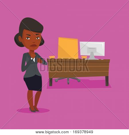 An angry african-american employer pointing at time on her wrist watch. Boss checking time of coming of latecomer employee. Concept of late to work. Vector flat design illustration. Square layout.