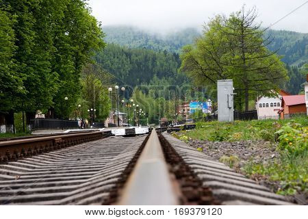 railroad tracks in the mountain green forest