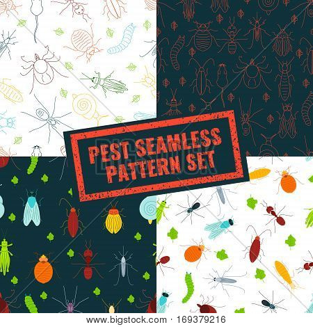 Seamless pattern set of pest insects and damaged leaves on black and white backgrounds. Parasitic beetle concept. Perfect for exterminator service companies. Vector illustration.