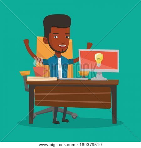 Young businessman working on laptop on a new business idea. An african-american happy man having a business idea. Successful business idea concept. Vector flat design illustration. Square layout.