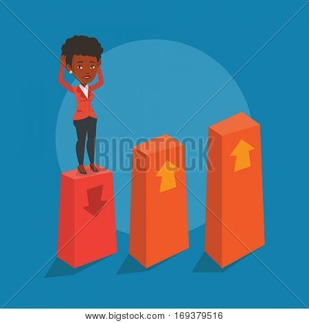 An african-american frightened bankrupt business woman clutching her head. Young bankrupt standing on chart going down. Concept of business bankruptcy. Vector flat design illustration. Square layout.