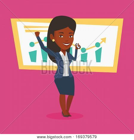 Successful business woman getting good news on mobile phone. An african successful business woman talking on mobile phone. Business success concept. Vector flat design illustration. Square layout.